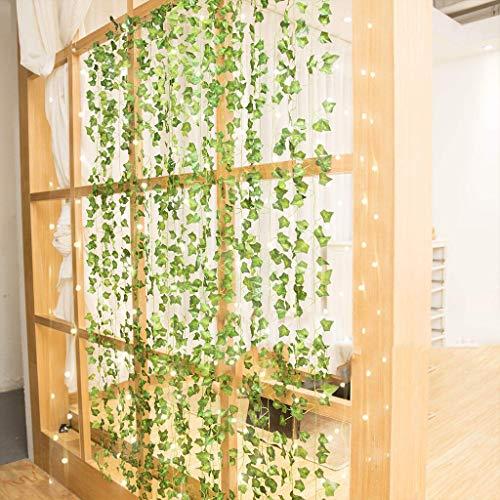 Amycute - Guirnalda de hiedra artificial de hojas de hiedra (24 m) con guirnaldas luminosas 100 ledes, 10 m, para casa, decoración de boda, fiesta, lámpara de bricolaje, jardín, dormitorio, etc.