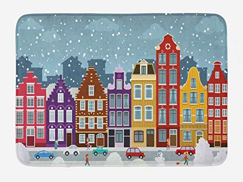 ABAKUHAUS Amsterdam Tappetino da Bagno, Città Olandese in Inverno, Vasca Doccia WC Tappeto in Peluche con Supporto Antiscivolo, 45 cm x 75 cm, Multicolore