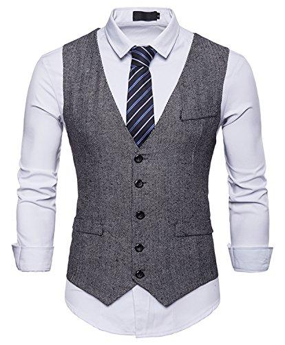 RuiXie Herren Urban Basic Tweed Kariert Weste - Schmale mit Zweireihige Knopfleiste BA0082-gray-M