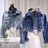 Mujeres Fashion Streetwear Jackets 2019 Otoño Agujeros Azul Rippado Denim Jacket Vintage Abrigos Cortos Jeans Harajuku Chaquetas De Frayed