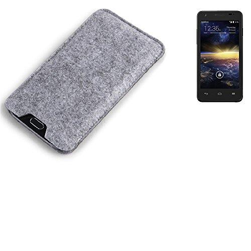 K-S-Trade Filz Schutz Hülle Für Vodafone Smart 4 Turbo Schutzhülle Filztasche Filz Tasche Case Sleeve Handyhülle Filzhülle Grau