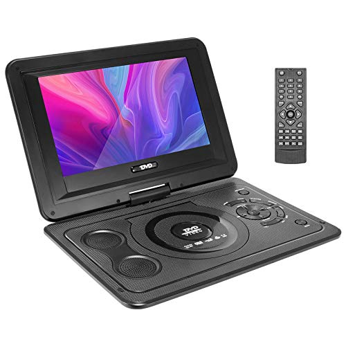 ZXCV 13.9'' Portable DVD Player with 10.1'' HD Swivel Screen, Support Earphone/SD Card/USB/TV/FM, with Car Adaptor and Remote