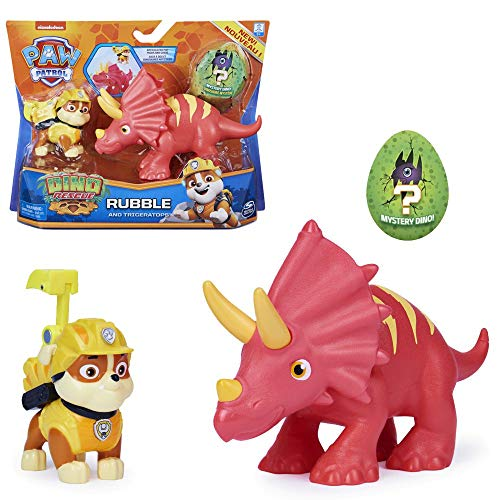 PAW PATROL Dino Rescue Action Pack | Set mit Spielfigur und Dinosaurier, Figur:Rubble
