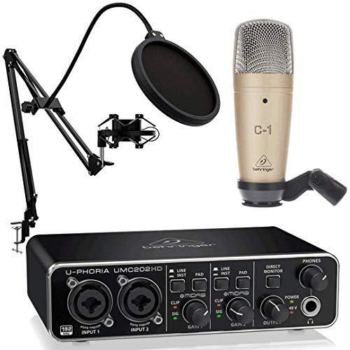 Behringer Pack U-Phoria Estudio Interface USB UMC202HD + Micrófono Estudio C1 + Accesorios Micro