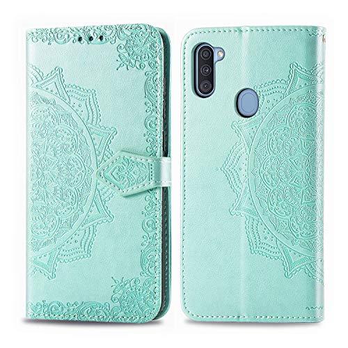 DESD011766 - Funda de piel tipo cartera para Samsung Galaxy A11 (función atril, cierre magnético, tarjetero), color verde