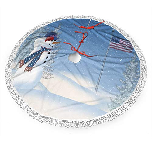 Mount Hour Christmas Tree Skirt, Patriotic Funny Snowman Saluting The American Flag Tree Mat with Tassel, Xmas Large Tree Mat for Christmas Party Decorations 48' inches