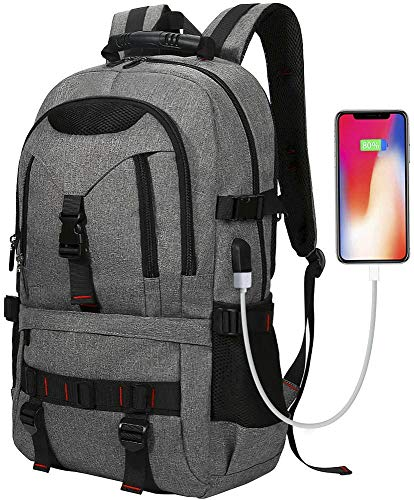 Tocode Water Resistant 17' Laptop Backpack Computer School Bag Anti-theft Travel Backpack Daypack with USB Charging Port Headphone Port and Lock, Grey Bookbags Work Bag for Men Women Teens