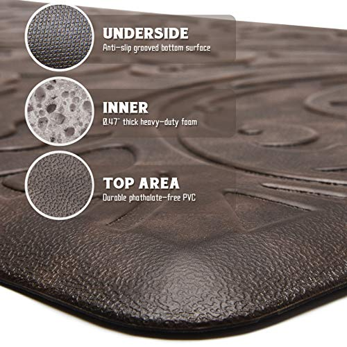 KMAT Kitchen Mat Cushioned Anti-Fatigue Floor Mat Waterproof Non-Slip Standing Mat Ergonomic Comfort Floor Mat Rug for Home,Office,Sink,Laundry,Desk 17.3