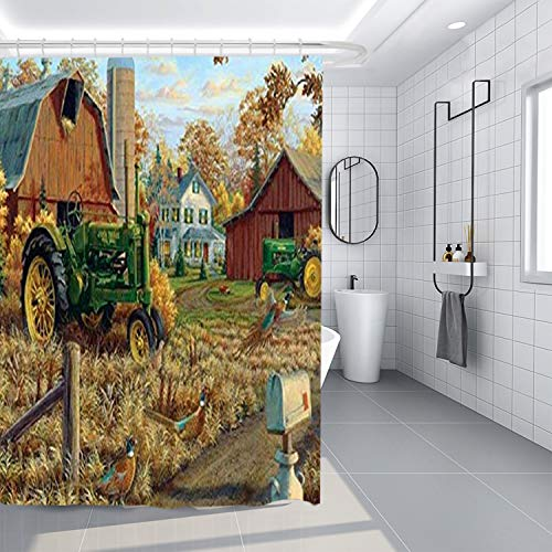 AshasdS Shower Curtain,Country Tractor Farmhouse Design Curtain Polyester Water Fabric with 12 Hooks,60 X 72 Inches
