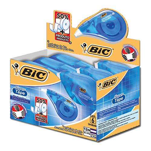 Corretivo em Fita BIC Super Tape, 12m, 891821, 6 unidades