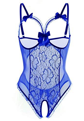 Lingerie for Women Sexy One-Piece Teddy Lingerie Bodysuit Lace Nightie (Blue,S) Missouri