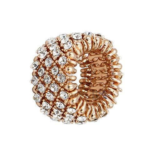 Venury Ring voor dames, roségoud en strasssteentjes, elastisch, eenheidsmaat, verstelbaar, elegant, geraffineerd