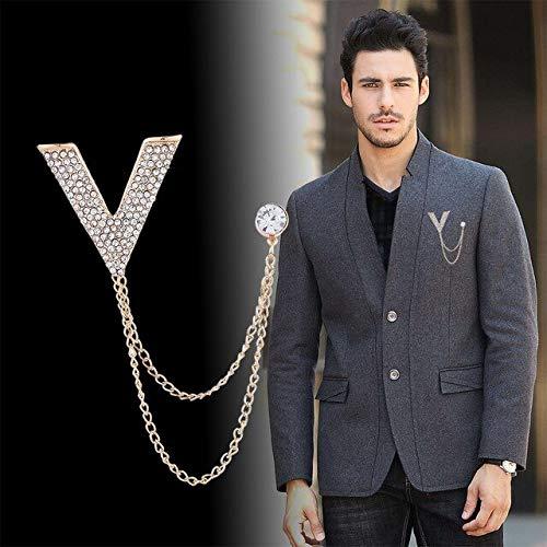 XZFCBH Broche met strasssteentjes, V-letterbroche ketting met kwast van kristal, heren, badg jurk, broche voor accessoires dames
