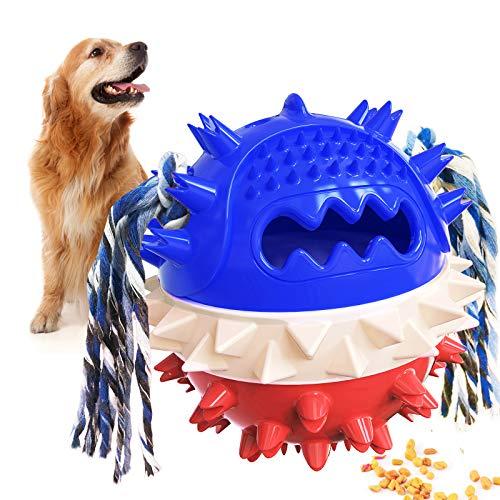 Pelota de Juguete para Perros, Juguetes para Cachorros con Dientes Molares, Pelota con Fugas Chirriantes/ Juguete para Masticar/Pelota para el Cuidado de los Dientes de Inteligencia de Mascota