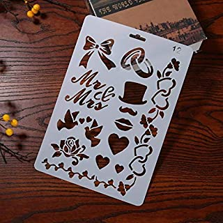 Stencils Love Hear Bow Pattern Theme Hollow Ruler Stencil for DIY Scrapbooking Plastic Template Photo Album Drawing Painting Tool