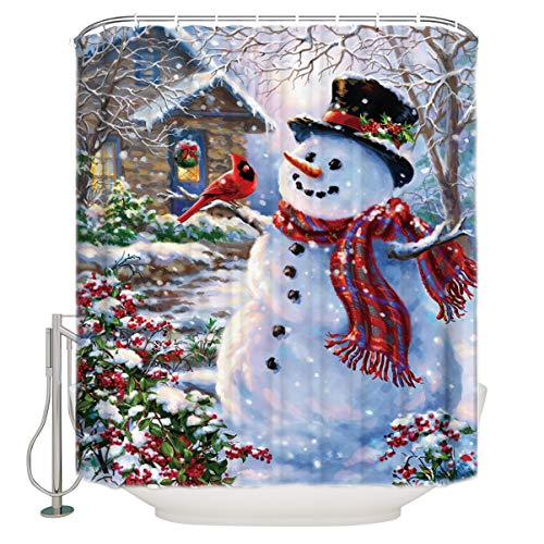 CHARMHOME 66X72 inches Inches Winter Holiday Merry Christmas Happy Snowman and Cardinals Shower Curtain New Waterproof Fabric Bath Curtain (Shower Rings Included)