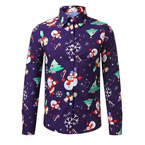waitFOR Men Casual Long Sleeve Christmas Shirt Snowflakes/Santa Claus/Christmas Tree/Reindeer Printed Shirt Man Charming Lapel Buttons Novelty Tops Tee Purple