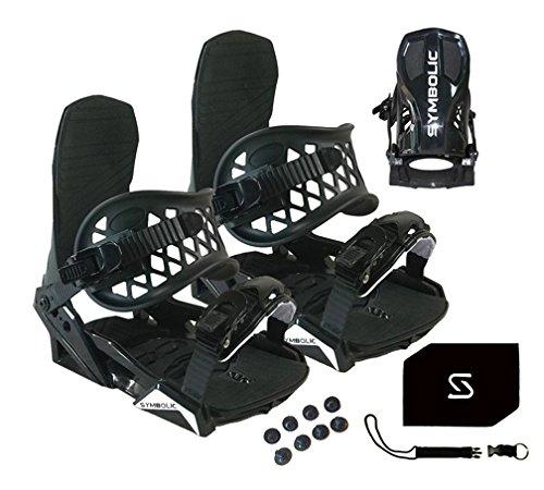 Symbolic Custom-Flow Black Snowboard Bindings & Leash & Stomp Pad Women's Medium (Black-Womens, Womens Medium (Fits 7-10))