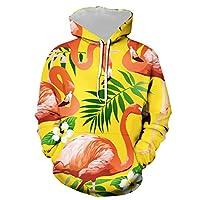 メンズプルオーバーフード付きグラフィックスウェットシャツ、フラミンゴの花びらが黄色の背景を残す面白いプリントパーカー、恋人ティーンユニセックスフード付きルーズデイリーカジュアルスポーツウェア (Color : Multi-colored, Size : XL)
