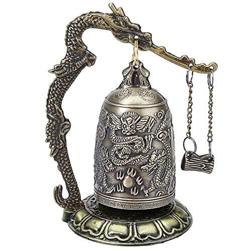 Jearls Hand Carved Brass Bell Carved Dragon Buddhist Buddha's Clock - Dragon Carved Buddhist Bell - Luck Bell for Meditation Altar/Home Office Decor Decor Making Life Easier
