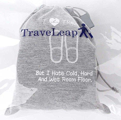 TraveLeap トラベリープ 携帯スリッパ 折り畳み 男女兼用 収納ポーチ セット 男女兼用 グレー