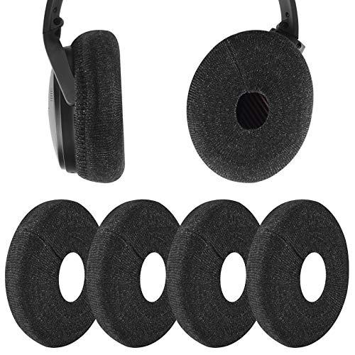 Geekria Lot de 2 paires de housses d'écouteurs en tissu tricoté lavable et extensible pour casque de 8 à 11 cm Noir