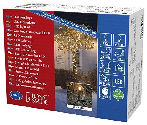 Konstsmide 3612-800 Micro LED Lichterkette / für Außen (IP44) / VDE geprüft / 24V Außentrafo / 120 bernsteinfarbene Dioden / schwarzes Kabel