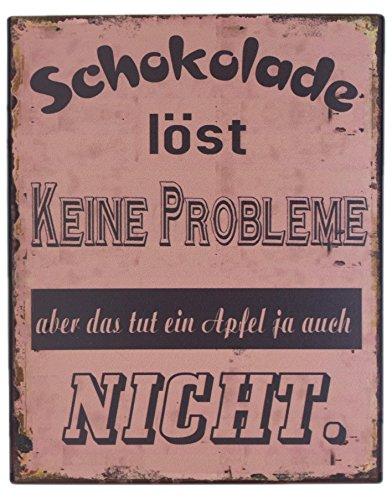 """Blechschild \""""Schokolade löst KEINE PROBLEME - aber das tut ein Apfel ja auch NICHT\"""" Shabby Chic Nostalgie Antik Metallschild 13 X 36 cm"""