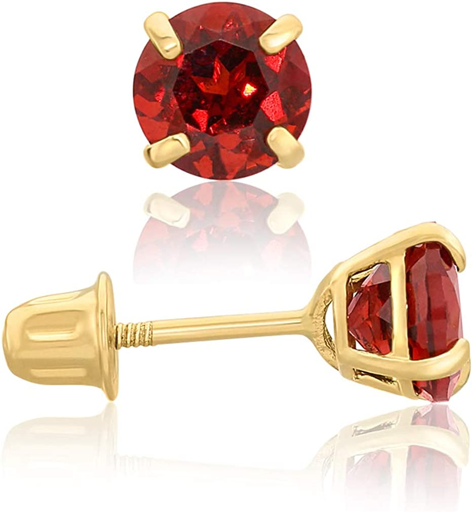 14k Max 51% OFF Yellow Raleigh Mall Gold 5mm Garnet Earrings Stud Round-Cut Solitaire wit