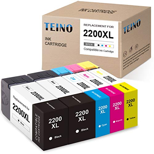 TEINO Compatible Ink Cartridge Replacement for Canon PGI-2200XL 2200XL PGI-2200 2200 use with Canon MAXIFY MB5420 MB5120 MB5020 MB5320 IB4120 IB4020 (2 Black, 1 Cyan, 1 Magenta, 1 Yellow, 5-Pack)