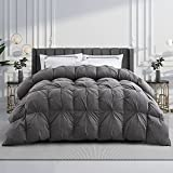 WENERSI Goose Down Comforter King,Beautiful Pinch Pleat Duvet Insert,1200Thread Count 100% Egyptian Cotton Fabric,750Fill Power All Season King Comforter(Grey,106x90inches)