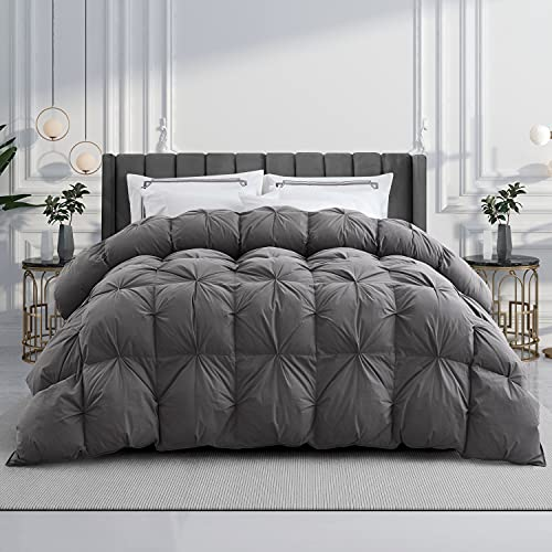 WENERSI Goose Down Comforter King,Beautiful Pinch Pleat Duvet Insert,1200Thread Count 100% Egyptian Cotton Fabric,750Fill Power All Season King...