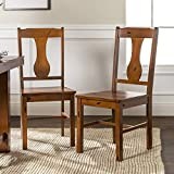 Walker Edison Rustic Farmhouse Wood Distressed Dining Room Chairs KitchenArmless Dining Chairs Kitchen Brown Oak Set of 2