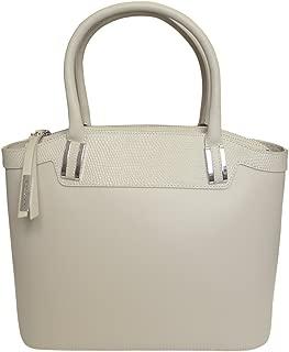 'Eleganza' Designer Italian Leather Tote Bag Grab Handbag Wedding Bag - Cream
