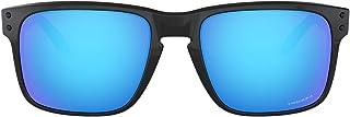 نظارة شمسية هولبروك موديل 9102F5 للرجال من راي-بان، اسود مصقول/ ياقوتي موشوري، مقاس عدسة 55