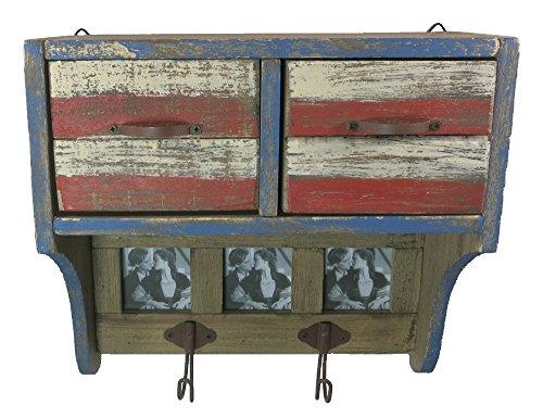 Holz Wandgarderobe Shabby 27,5 x 26,5cm mit 2 Kleiderhaken, 2 Schubladen und 3 Bilderrahmen - rot/weiß/blau/Natur - Deko-Garderobe - Garderobe Vintage - Garderobenschrank