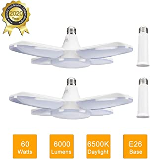LED Garage Light 2 Pack 60W E26 6000LM Deformable LED Garage Ceiling Lights 6500K Daylight White with 4 Adjustable Panels, Deformable LED Shop Lights for Garage Warehouse Workshop Basement