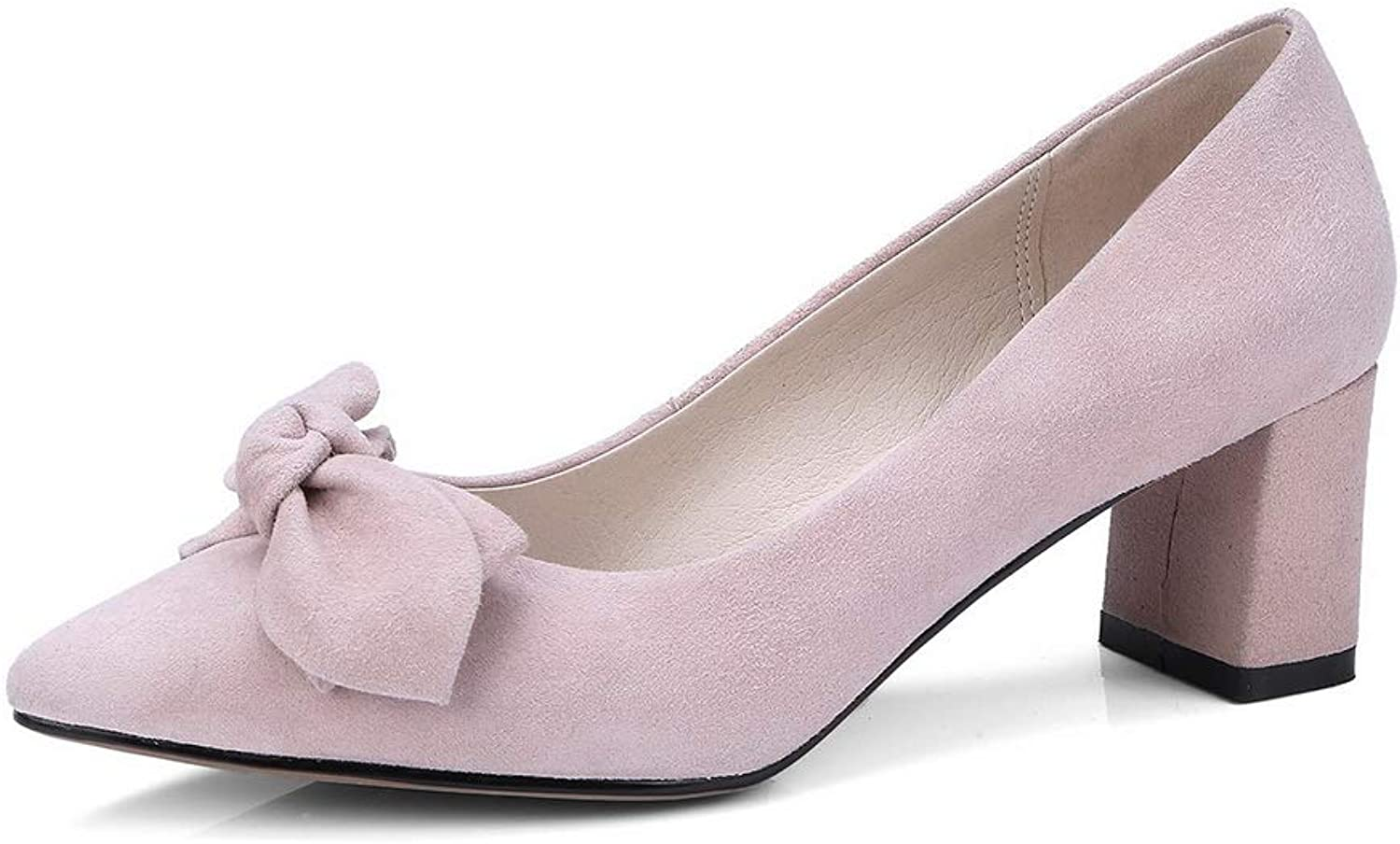 AN Womens Square Heels Pointed-Toe Bows Pink Sheepskin Pumps shoes DGU00827-7 B(M) US
