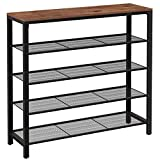 VASAGLE INDESTIC Shoe Rack, Storage Organizer with 4 Mesh Shelves and Large Surface for Bags, Steel Frame, Industrial, 39.4 x 11.8 x 36.4 Inches, Hazelnut Brown