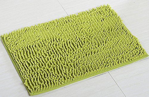 "YJ Bear Chenille Rectangle Anti-Slip Microfiber Doormat Solid Color Non-Slip Area Rug Carpet Shaggy Floor mat Soft Bath Mat for Home Bedroom Grass Green 18"" X 27"""