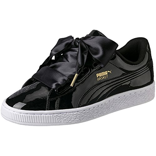 Puma Basket Heart Patent Low-Top Sneaker, Schwarz