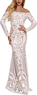 Women's Off Shoulder Floral Sequined Sparkle Party Evening Cocktail Mermaid Maxi Long Dress Prom Gowns