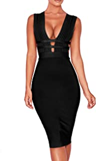 Women 'S Sexy Deep V Plunge Sleeveless Cut Out Bodycon Bandage Cocktial Party Dresses