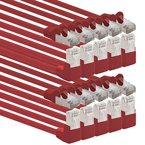 1aTTack.de 366122 Cat.6 Netzwerkkabel Winkel 90 Grad 0,25m - rot - 10 Stück - Cat6 Patchkabel (SFTP PIMF) 1000Mbit/s Rj 45 Stecker - 10 x 0,25m Meter rot
