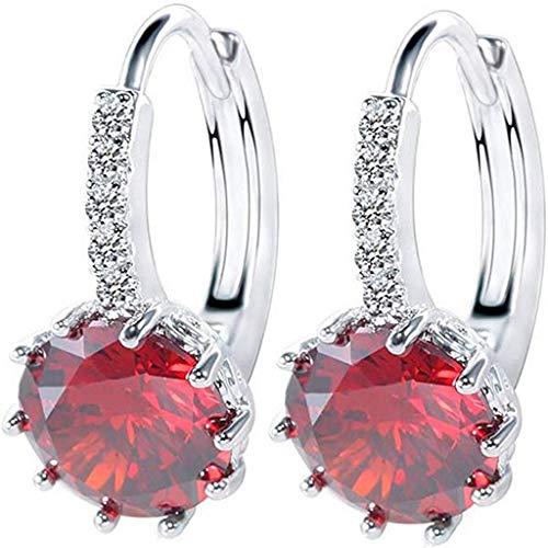 UINGKID Damen Ohrringe Mode Ohrstecker Vintage Herzförmiger Zirkon Multi-Color Einfache Kristall Ohrringe Für Frauen Mädchen Ball Anhänger Dangle Drop Creolen Ohrringe Silber Ton (1-rot)