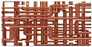 zaeshe3536658 Industrial License Plate, Knot of Pipes Complex Design with Entangled Lines Hardware Industry Art, High Gloss Aluminum Novelty Plate, 6 X 12 Inches. Bronze and
