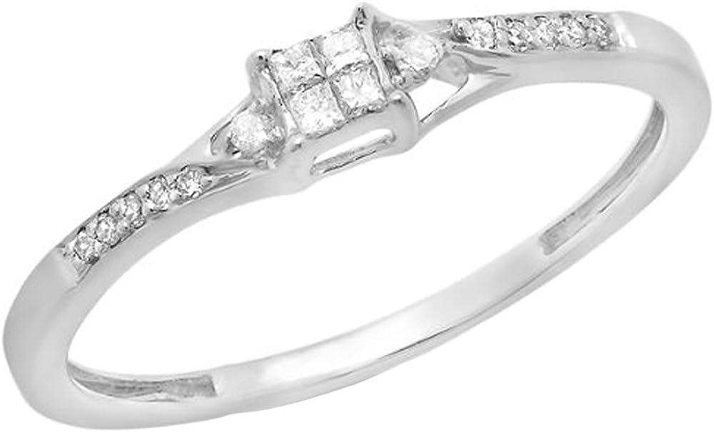 Dazzlingrock Collection 0.15 Carat (ctw) 10K Round & Princess Cut Diamond Ladies Bridal Promise Ring, White Gold