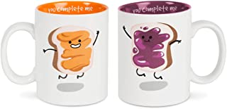 Pavilion Gift Company 74703 Peanut Butter & Jelly Complimentary Dishwasher Safe Coffee Mugs, 18 oz, Multicolor