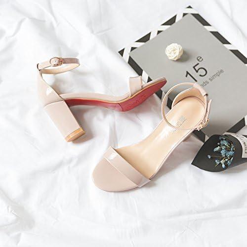 VIVIOO Chaussures à talons hauts Sandales à talons hauts Sandales à talons hauts Femme Boucle de mot sauvage d'été avec épais avec des chaussures de femmes rose Nue