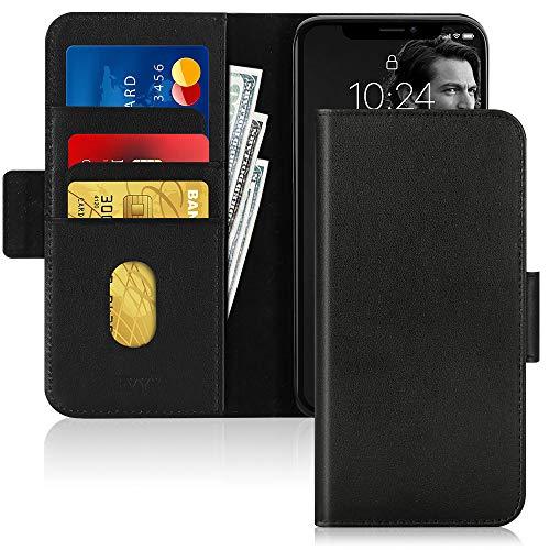 FYY iPhone 11 Pro Max Hülle(2019), für iPhone 11 Pro Max Handyhülle,[Rindsleder Echtem Leder] Flip Brieftasche Hülle[Ständer-Funktion]mit Kartensteckplätze für iPhone 11 Pro Max Hülle 6.5 zoll-Schwarz
